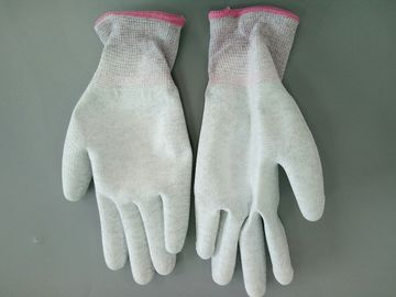 Knitted ESD Cleanroom Gloves PU Palm Coated Coloured Cuffs Static Dissipative
